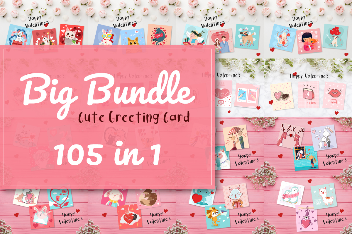 Download Free The Cute Greeting Card Bundle Bundle Creative Fabrica for Cricut Explore, Silhouette and other cutting machines.