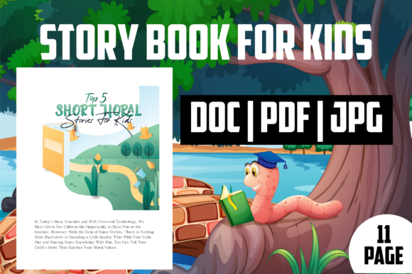 Print on Demand: Top 5 Short Moral Stories Ebook for Kid Graphic KDP Interiors By MK DESIGNS