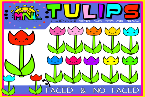 Download Free Tulip Flowers Clip Art Set Graphic By Ziza Mariposa Creative for Cricut Explore, Silhouette and other cutting machines.