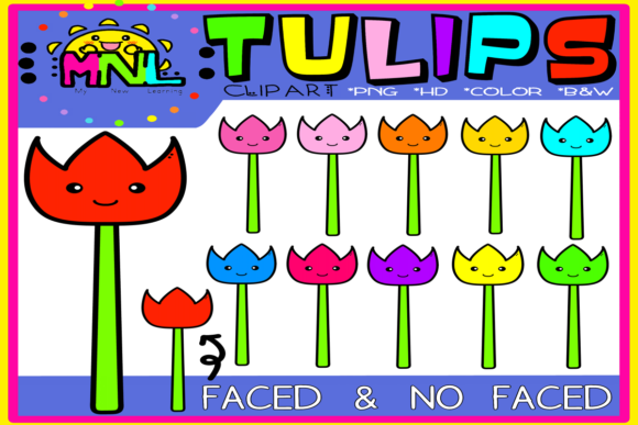 Tulips Clip Art Face & No-Face Graphic Teaching Materials By Ziza Mariposa