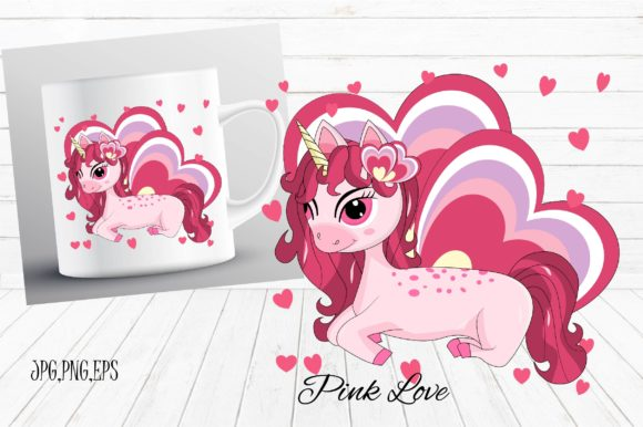 Download Free Unicorn Pink Love Graphic By Suda Digital Art Creative Fabrica for Cricut Explore, Silhouette and other cutting machines.