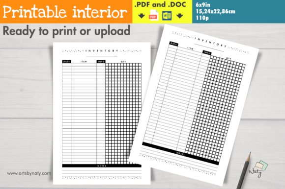 Print on Demand: Universal Inventory Printable Organizer Graphic KDP Interiors By artsbynaty