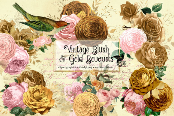 Print on Demand: Vintage Blush and Gold Bouquets Clipart Graphic Illustrations By Digital Curio