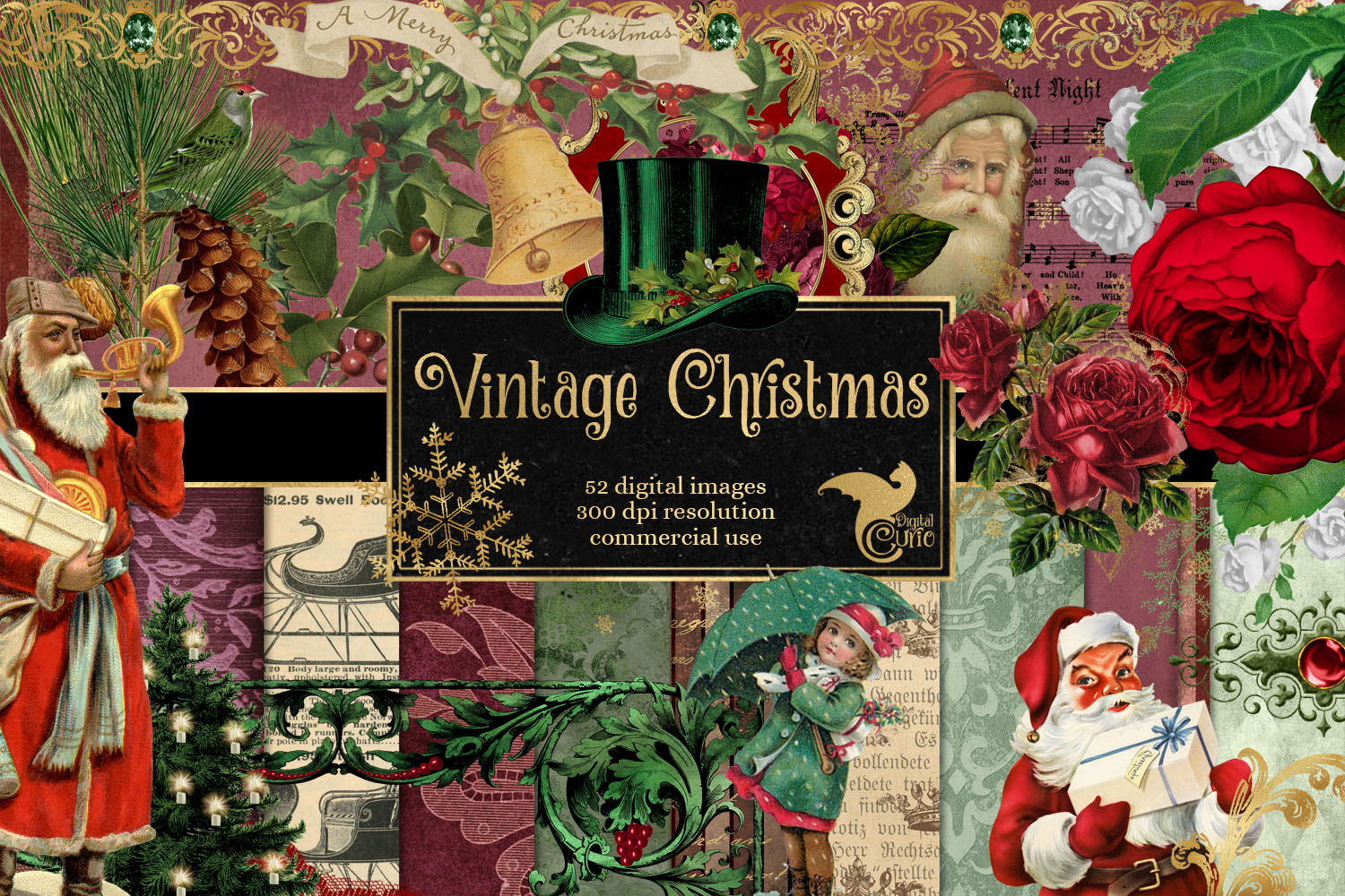 Download Free Vintage Christmas Graphics Graphic By Digital Curio Creative for Cricut Explore, Silhouette and other cutting machines.