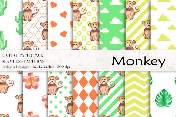 Download Free Watercolor Monkey Digital Papers Graphic By Bonadesigns for Cricut Explore, Silhouette and other cutting machines.