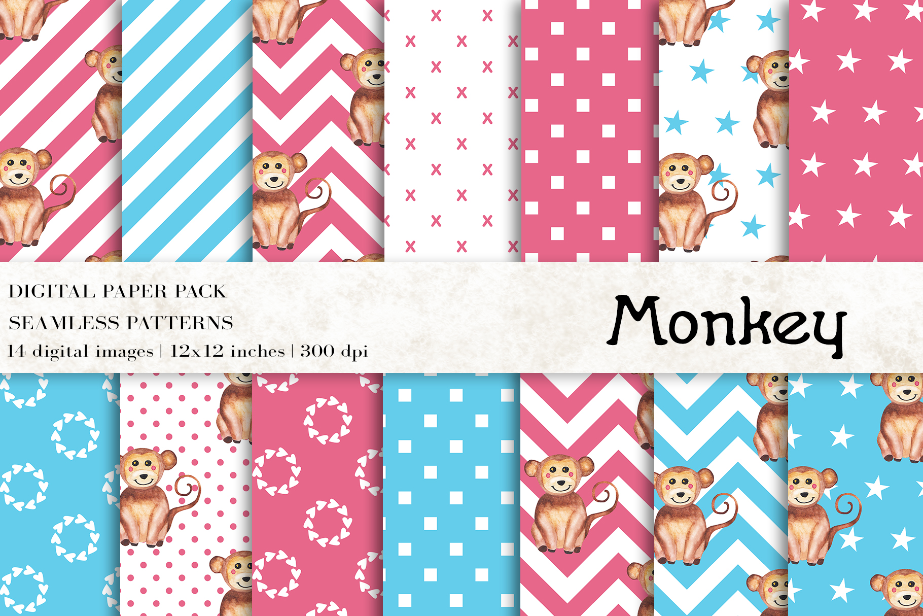 Download Free Watercolor Monkey Digital Papers Graphic By Bonadesigns SVG Cut Files