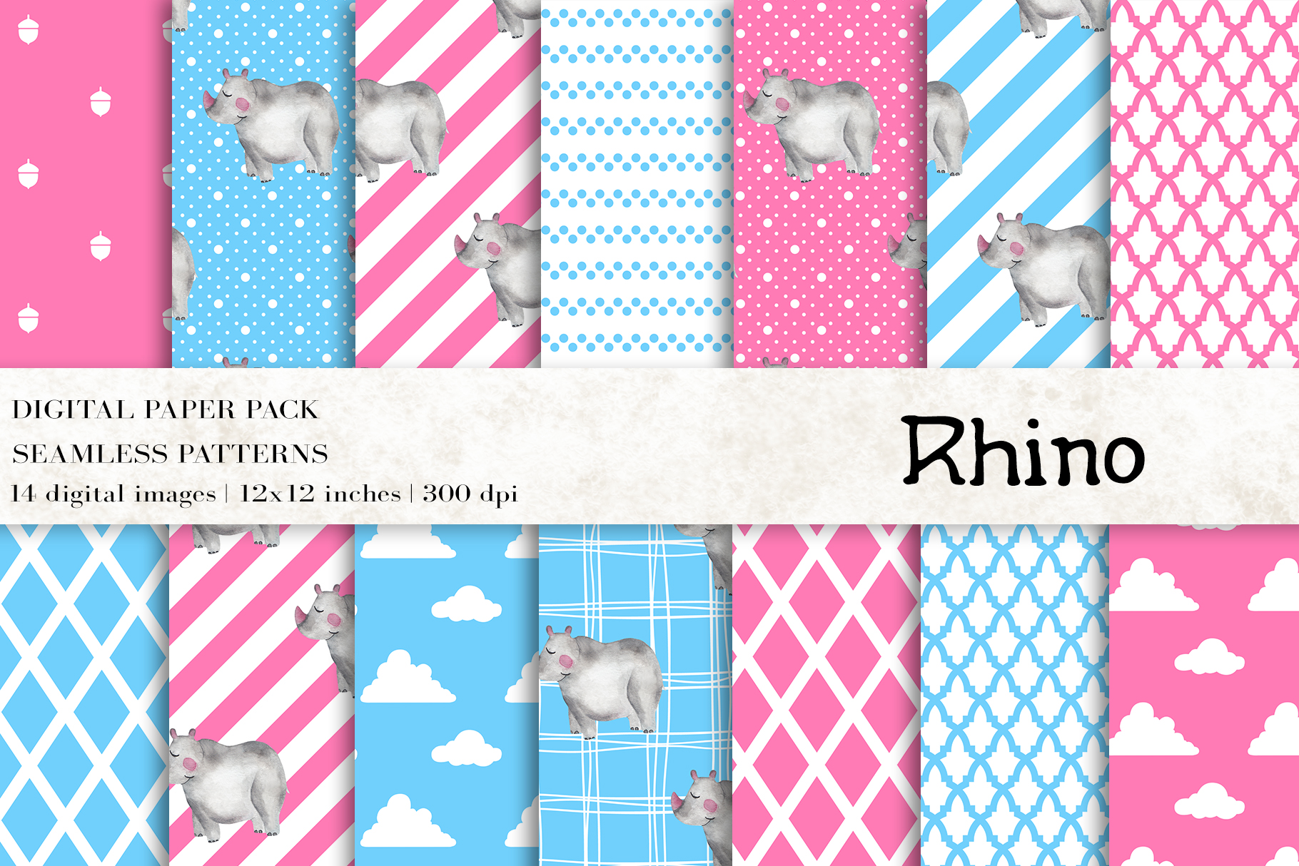Download Free Watercolor Rhino Digital Papers Graphic By Bonadesigns for Cricut Explore, Silhouette and other cutting machines.