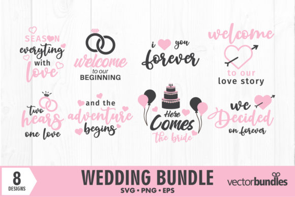Download Free Wedding Bundle Crafts Graphic By Vectorbundles Creative Fabrica for Cricut Explore, Silhouette and other cutting machines.