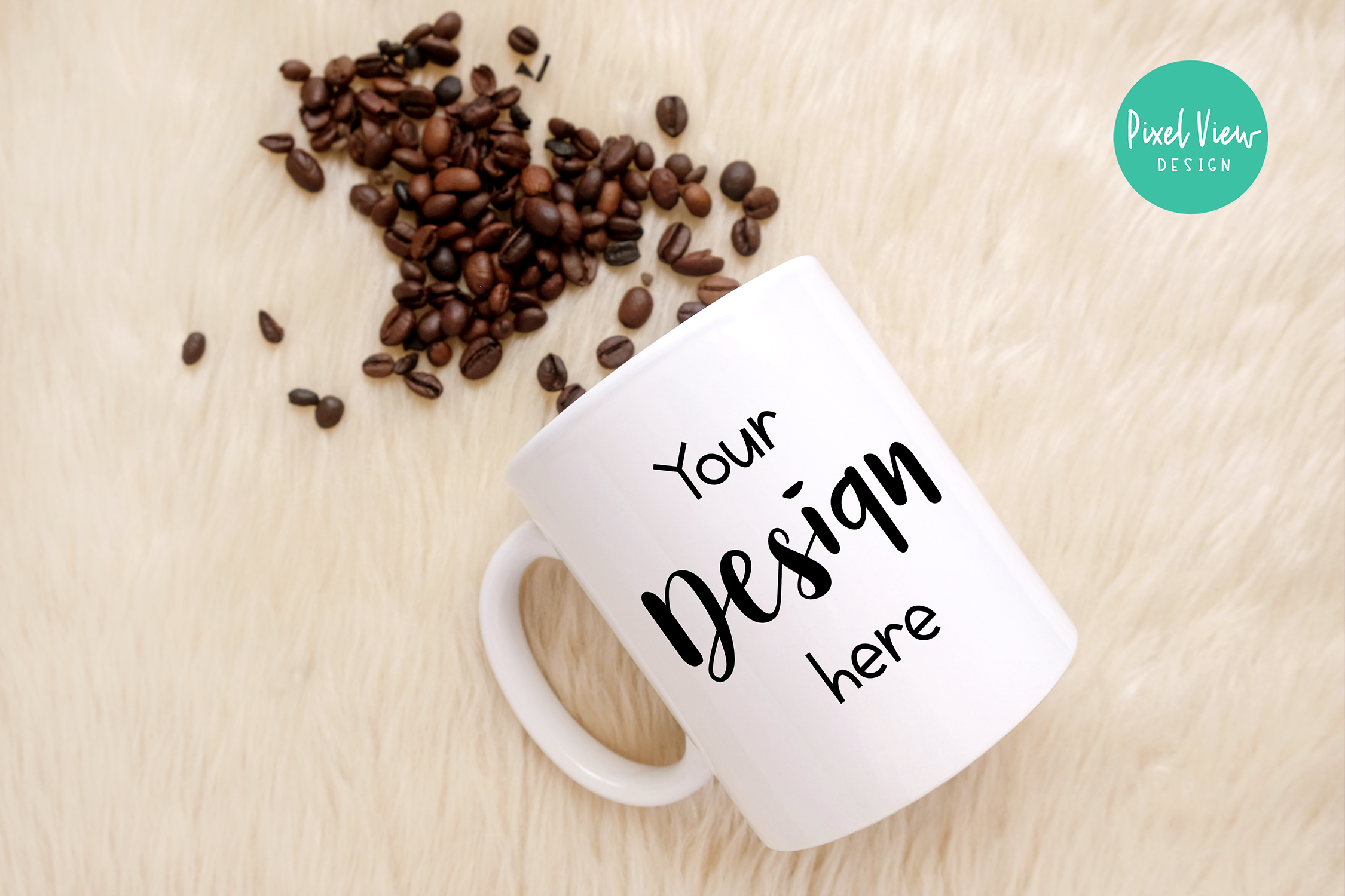 Download Free White Mug Mockup With Coffee Beans Graphic By Pixel View Design for Cricut Explore, Silhouette and other cutting machines.