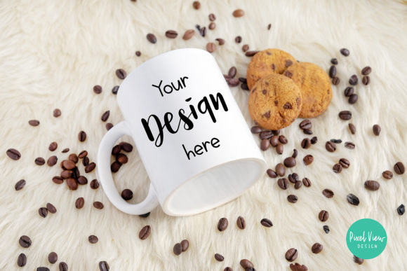 Download Free White Mug Mockup With Cookies Graphic By Pixel View Design for Cricut Explore, Silhouette and other cutting machines.