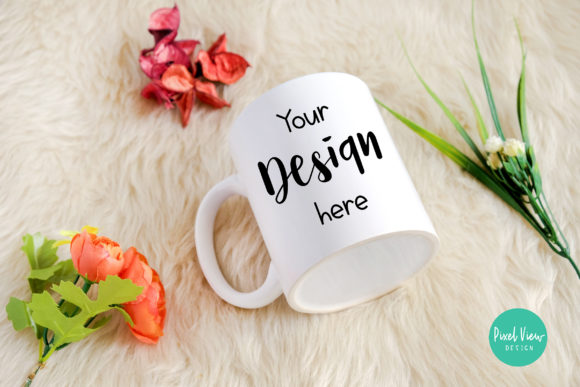 Print on Demand: White Mug Mockup with Flowers Graphic Product Mockups By Pixel View Design