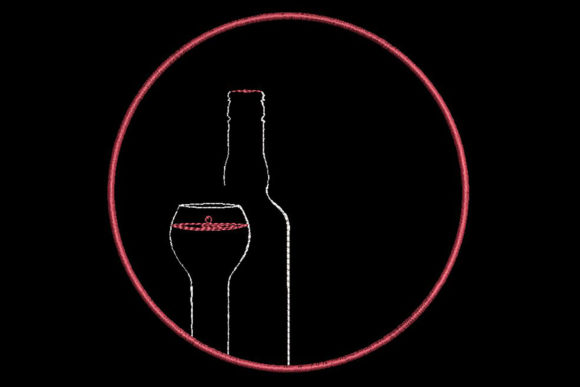 Print on Demand: Wine Glass and Bottle, Simplistic Design House & Home Embroidery Design By Embroidery Shelter