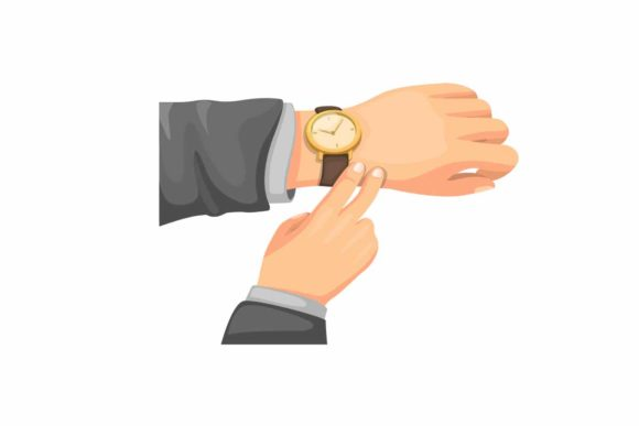 Print on Demand: Business Man Check Time Hand Wristwatch Graphic Illustrations By aryo.hadi