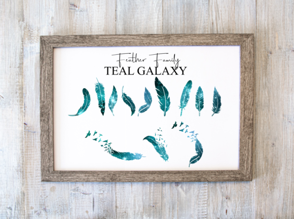 Family Feather Print Teal Galaxy Grafik Druck-Templates von amberayse