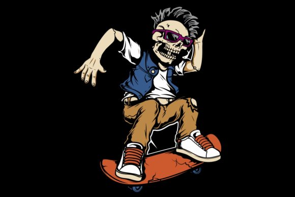 Skull Playing Skateboarding Vector   Graphic Illustrations By Epic.Graphic