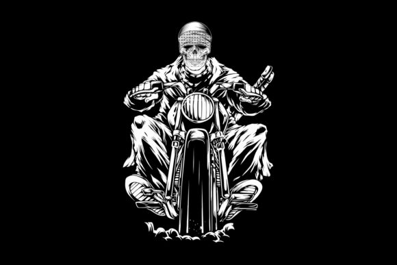 Skull Riding a Motorcycle Skull Riding Graphic Illustrations By Epic.Graphic