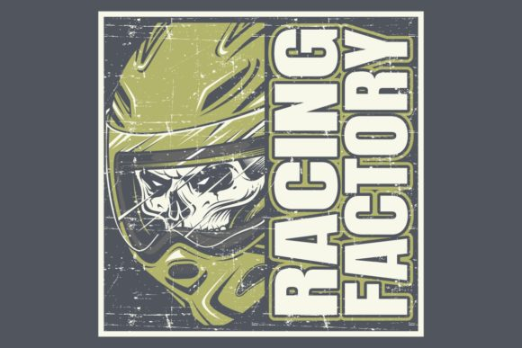 Download Free Skull Wearing Helmet And Text Racing Graphic By Epic Graphic for Cricut Explore, Silhouette and other cutting machines.