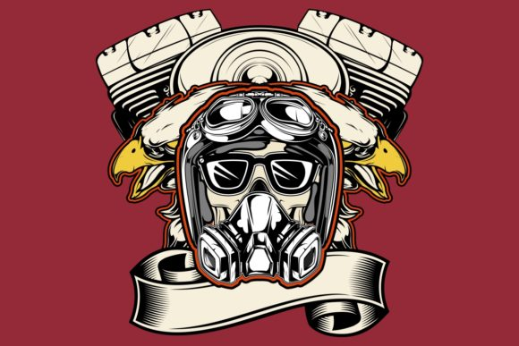Skull Wearing Helmet,eagle and Machine Graphic Illustrations By Epic.Graphic