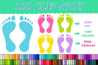 100 Feet Clip Art Graphic Illustrations By SweetDesign