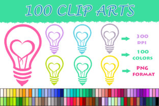 100 Heart Bulb Clip Art Graphic Illustrations By SweetDesign