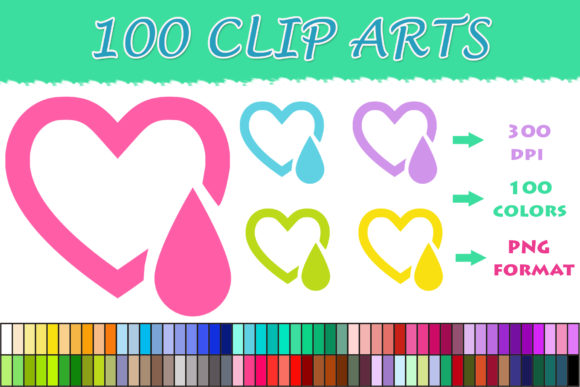 Download Free 100 Heart With A Drop Clip Art Graphic By Sweetdesign Creative for Cricut Explore, Silhouette and other cutting machines.