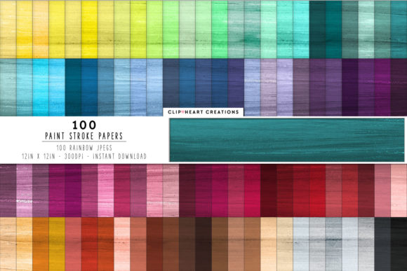 100 Paint Strokes Papers Graphic Backgrounds By clipheartcreations