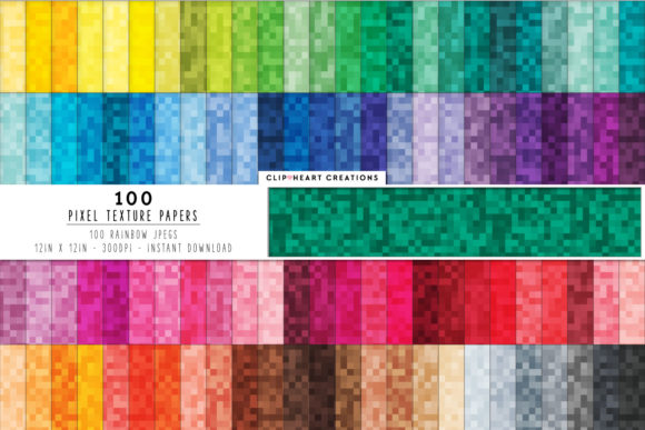 100 Pixel Pattern Papers Graphic Backgrounds By clipheartcreations