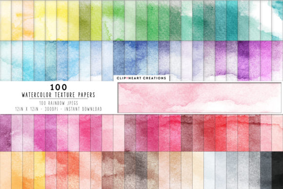 Download Free 100 Watercolor Digital Papers Graphic By Clipheartcreations for Cricut Explore, Silhouette and other cutting machines.