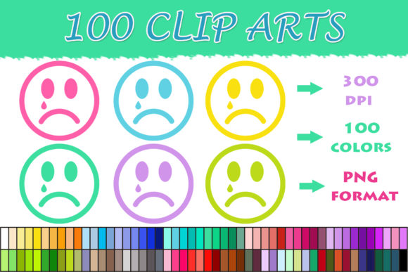100 Sad Smiley Clip Art Graphic Illustrations By SweetDesign