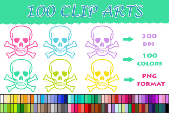 Download Free 100 Skull With Bones Clip Art Graphic By Sweetdesign Creative for Cricut Explore, Silhouette and other cutting machines.