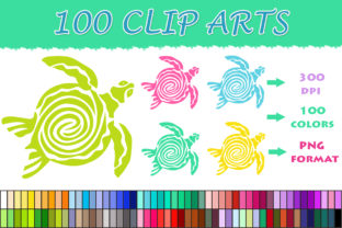 100 Turtle Clip Art Graphic Illustrations By SweetDesign