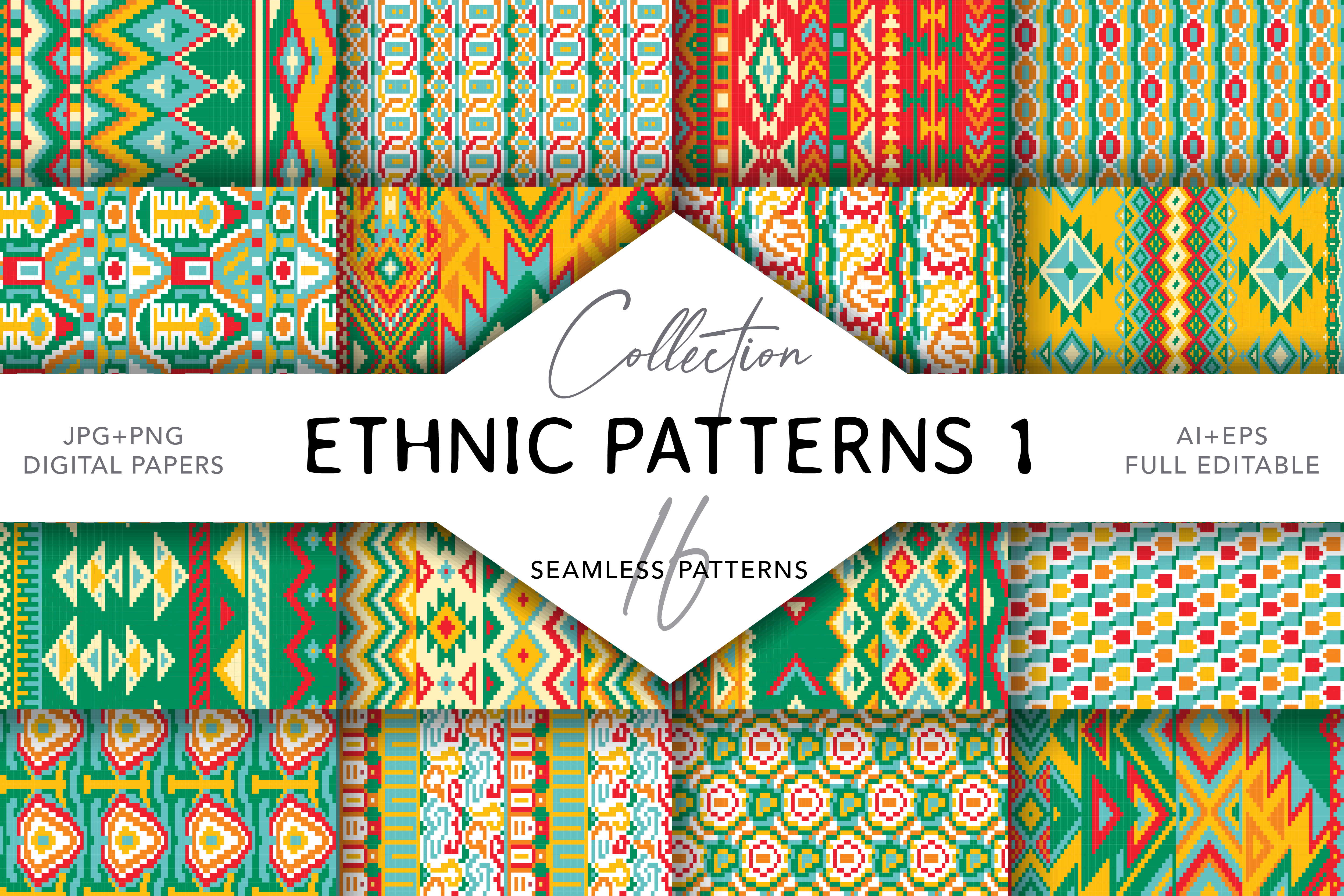 Download Free 16 Ethnic Seamless Patterns Set 1 Grafico Por Digitaleye for Cricut Explore, Silhouette and other cutting machines.