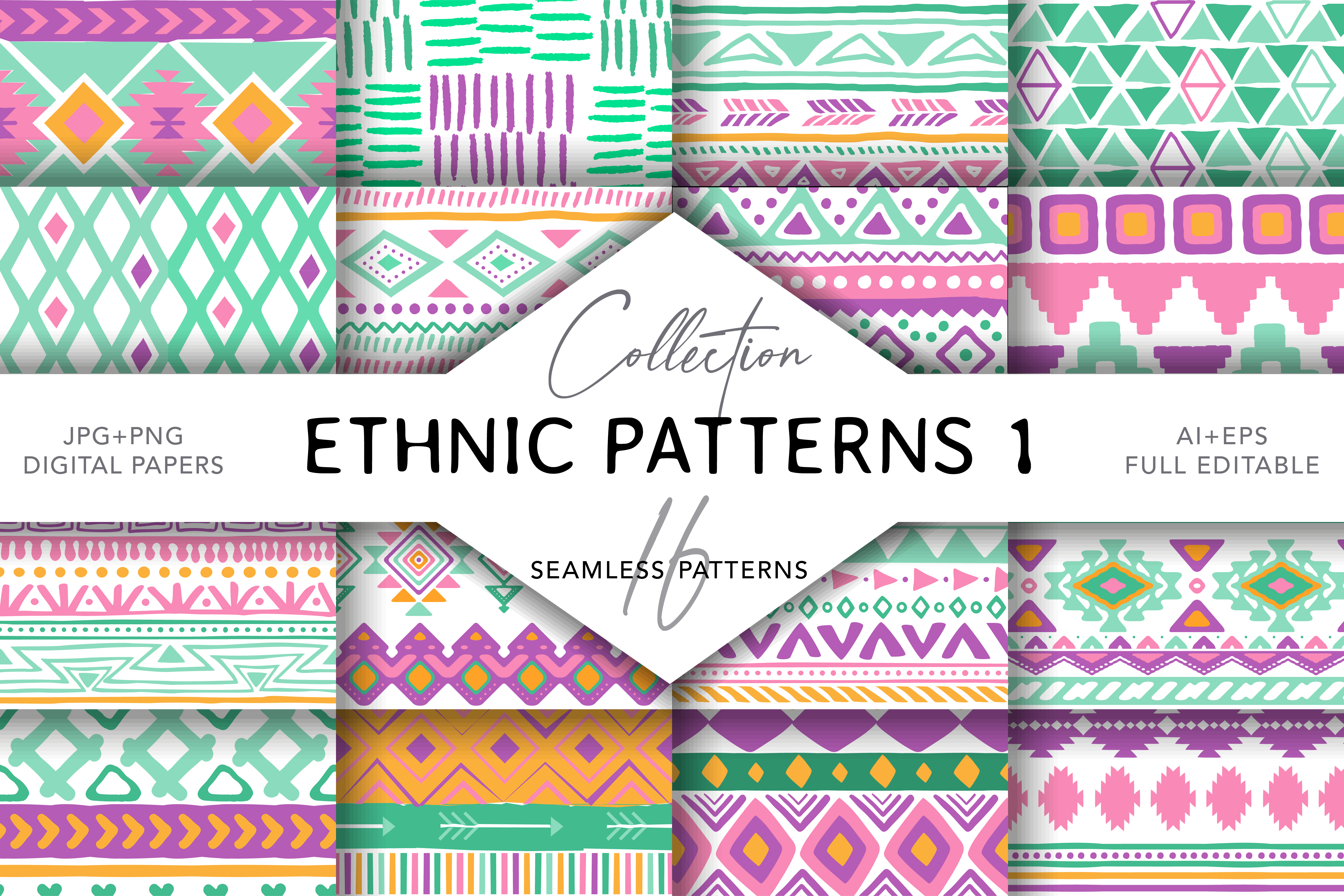 Download Free 16 Ethnic Seamless Patterns Set 2 Graphic By Digitaleye for Cricut Explore, Silhouette and other cutting machines.