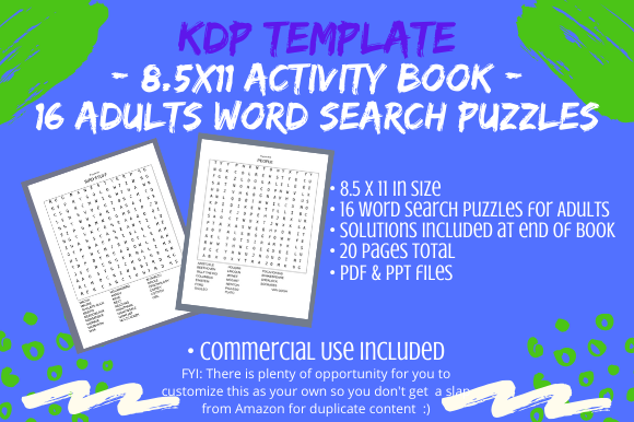 Download Free 16 Word Search Puzzles For Adults Graphic By Tomboy Designs for Cricut Explore, Silhouette and other cutting machines.