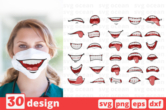 Print on Demand: 30 Cartoon Mouths Face Mask Pattern Grafik Druck-Templates von SvgOcean