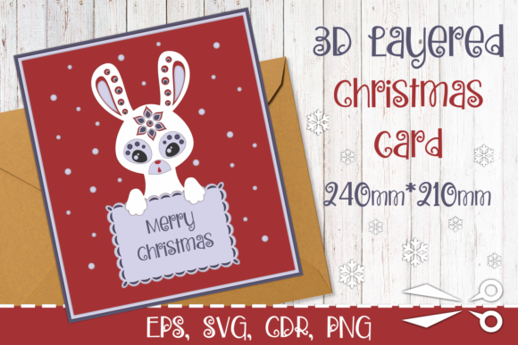 Download Free 3d Layered Christmas Card With Bunny Graphic By Olga Belova for Cricut Explore, Silhouette and other cutting machines.