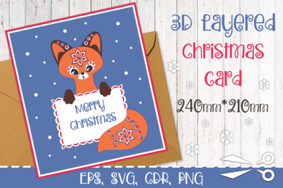 Print on Demand: 3D Layered Christmas Card with Fox Graphic 3D Christmas By Olga Belova