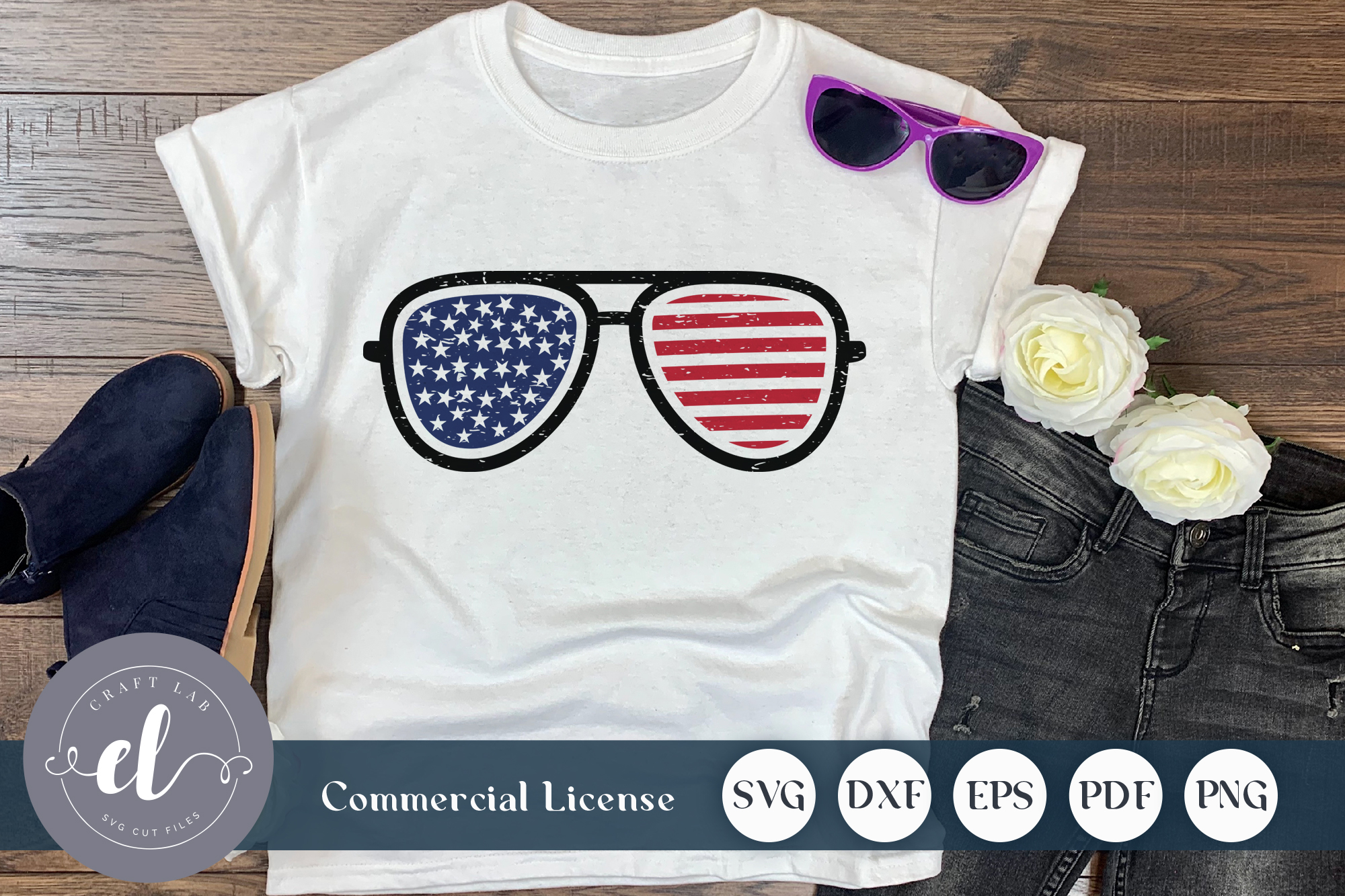 Download Free 4th Of July Sunglass Graphic By Craftlabsvg Creative Fabrica for Cricut Explore, Silhouette and other cutting machines.