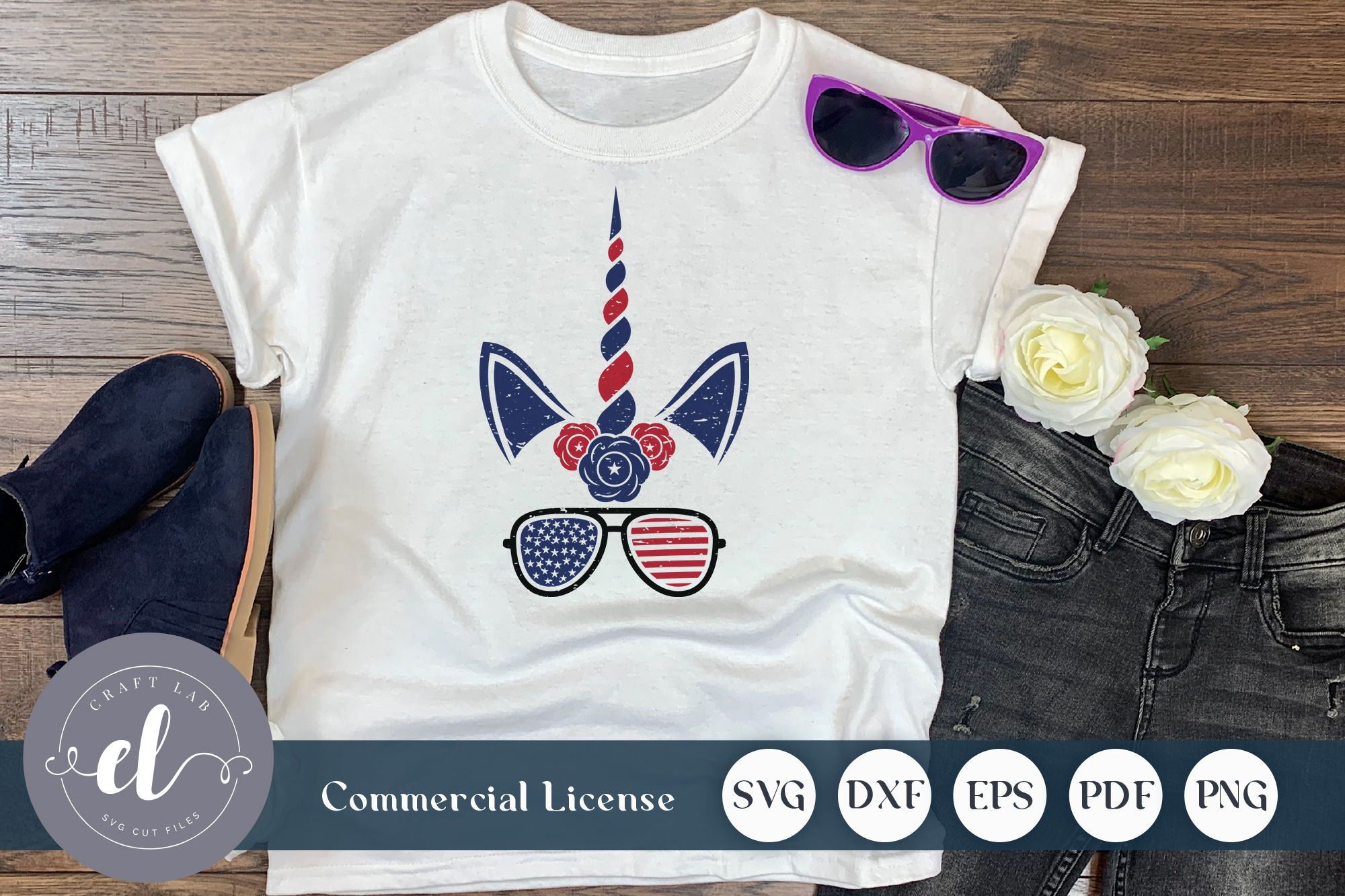 Download Free 4th Of July Unicorn Sunglass Graphic By Craftlabsvg Creative for Cricut Explore, Silhouette and other cutting machines.