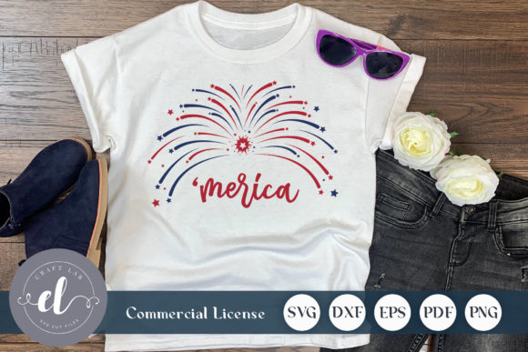 Download Free 4th Of July Merica Firework Graphic By Craftlabsvg Creative for Cricut Explore, Silhouette and other cutting machines.
