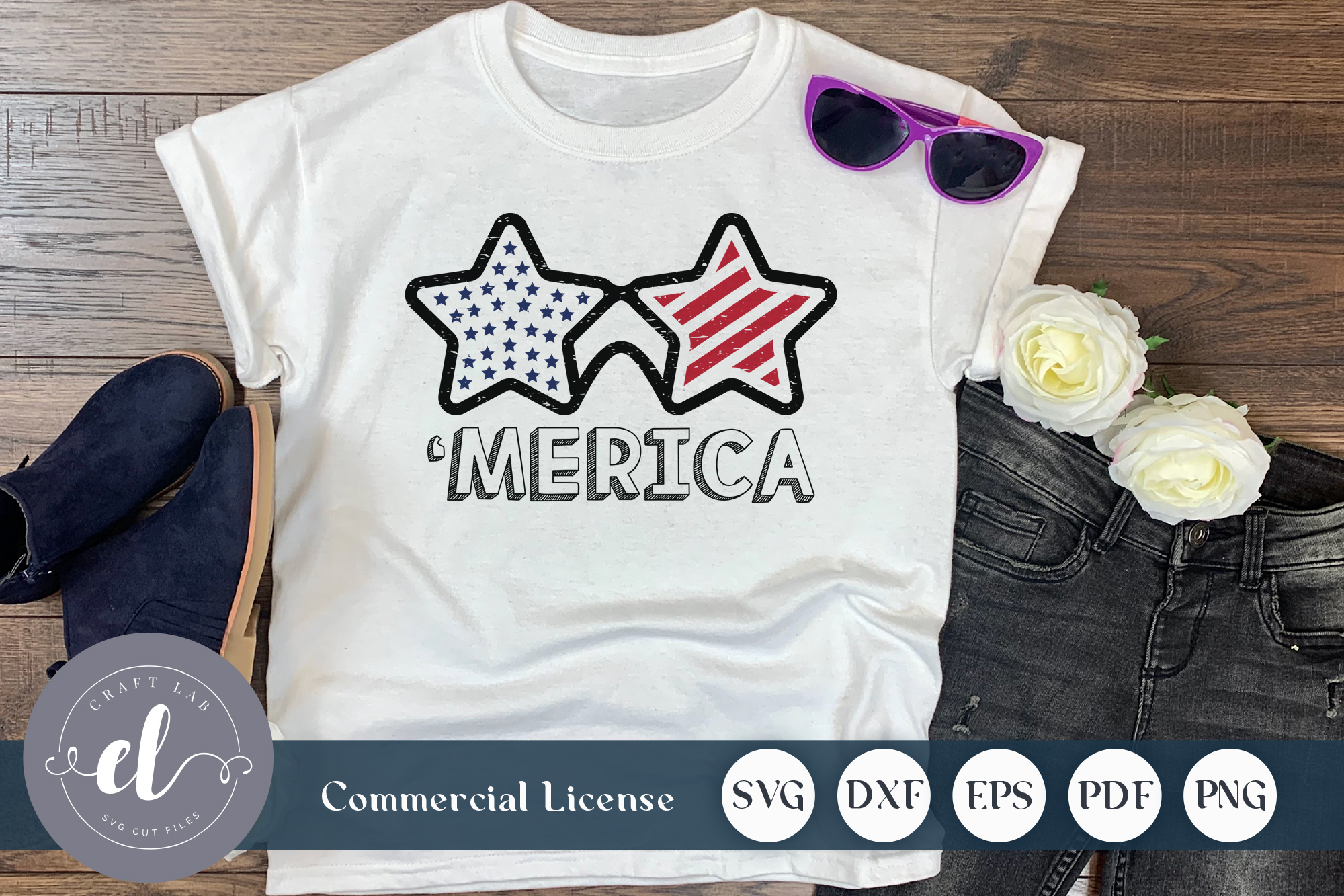 Download Free 4th Of July Merica Sunglass Graphic By Craftlabsvg Creative for Cricut Explore, Silhouette and other cutting machines.