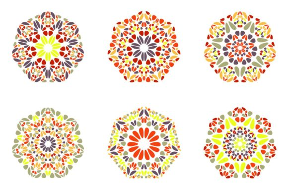 6 Floral Heptagon Designs Graphic Objects By davidzydd