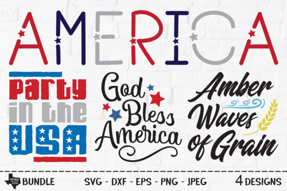 Print on Demand: America Bundle - Patriotic Shirt Designs Graphic Crafts By texassoutherncuts