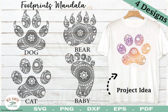 Download Free Animal Paws Mandala Bundle Graphic By Redearth And Gumtrees for Cricut Explore, Silhouette and other cutting machines.