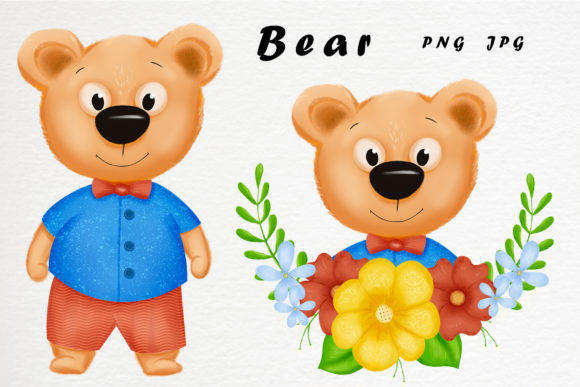 Download Free Bear And His Friends Graphic By Gennadii Art Creative Fabrica for Cricut Explore, Silhouette and other cutting machines.
