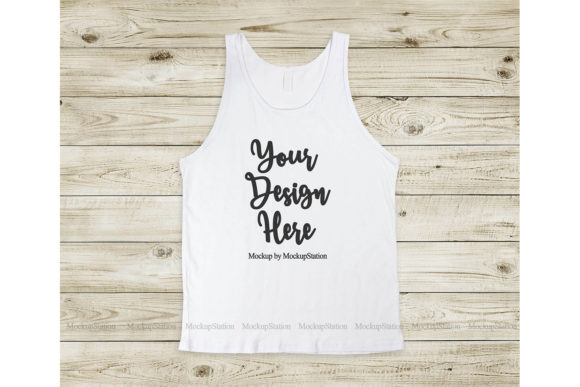Print on Demand: Bella Canvas 3480 White Tank Top Mockup Graphic Product Mockups By Mockup Station - Image 1