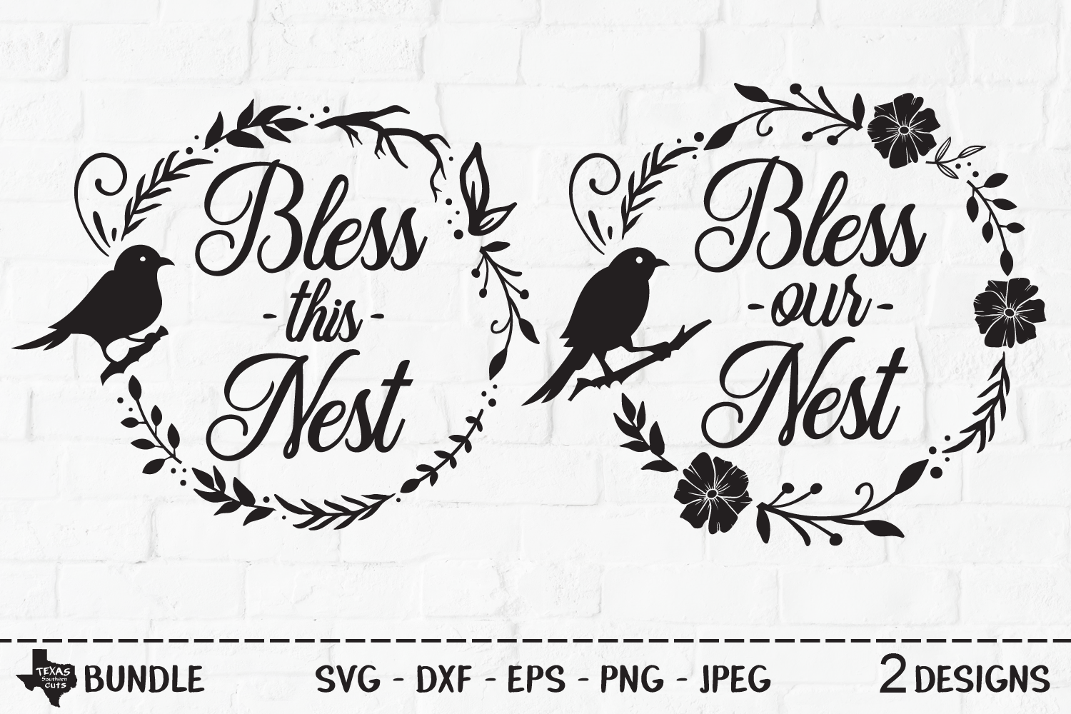 Download Free Bless Nest Bundle Bird Wreath Designs Graphic By for Cricut Explore, Silhouette and other cutting machines.
