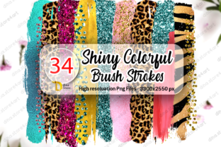 Bundle of Shiny Colorful Brush Strokes Graphic Crafts By dina.store4art