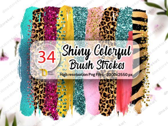Print on Demand: Bundle of Shiny Colorful Brush Strokes Graphic Crafts By dina.store4art