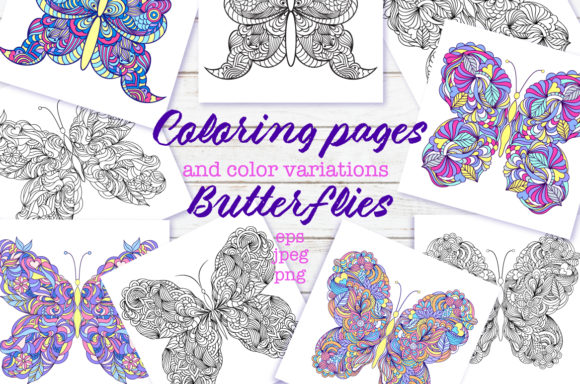 Butterflies - Coloring Pages Graphic Coloring Pages & Books Adults By fatamorganaoptic - Image 1